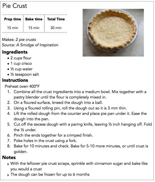 Pie Crust Recipe